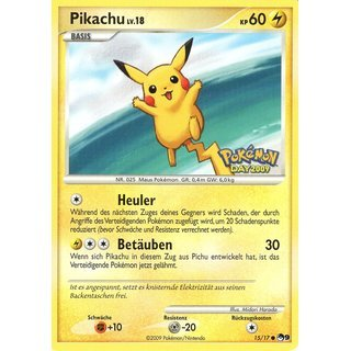 Pikachu 15/17 Promo 2007  Germay Stamped Mint