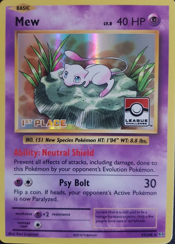 Mew 53/108 Holo (1st Place) League Promo - XY Evolutions 2016 -Englisch NM/Mint