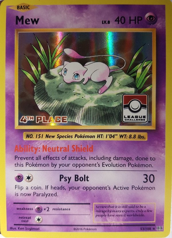 Mew 53/108 Holo (4 th Place) League Promo - XY Evolutions 2016 -English NM/Mint