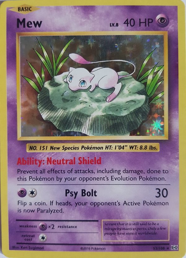Mew 53/108 Holo Rare - XY Evolutions 2016 -Englisch NM/Mint