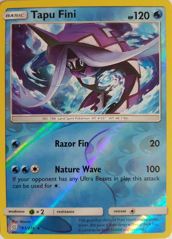 Tapu Fini 52/236 Reverse Holo - Sun and Moon- Unified Minds - EN Mint