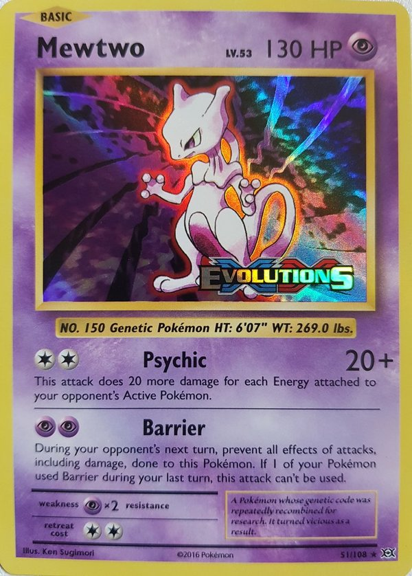 Mewtwo 51/108 Pre Release Holo - Evolutions - Englisch NM/Mint