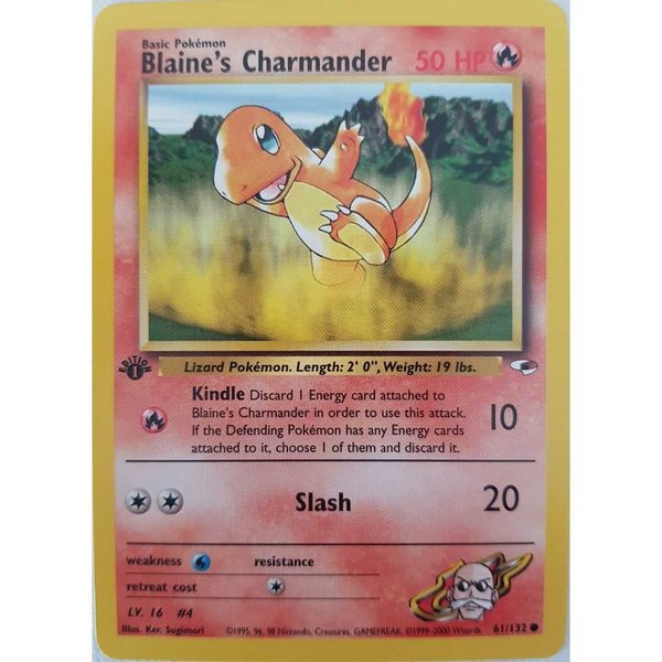 Blaine's Charmander 61/132 -1st Edition Gym Heroes - Englisch NM