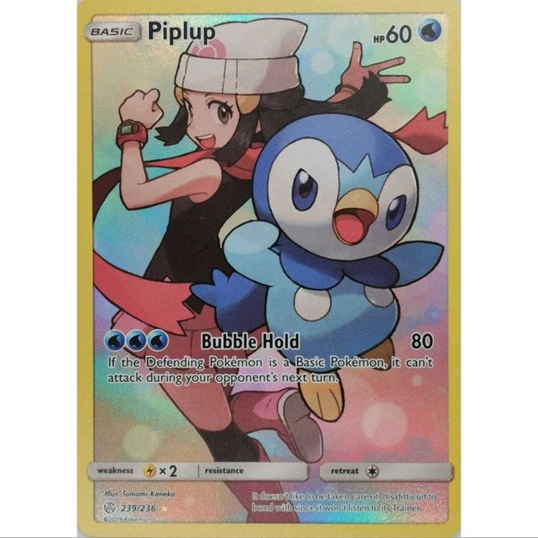 Piplup/Pinfa 239/236 Secret Rare Pokemon S&M Cosmic Eclipse EN NM/Mint