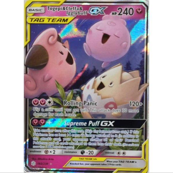 Togepi & Cleffa & Igglybuff GX 143/236 Ultra Rare Pokemon Englisch NM/Mint