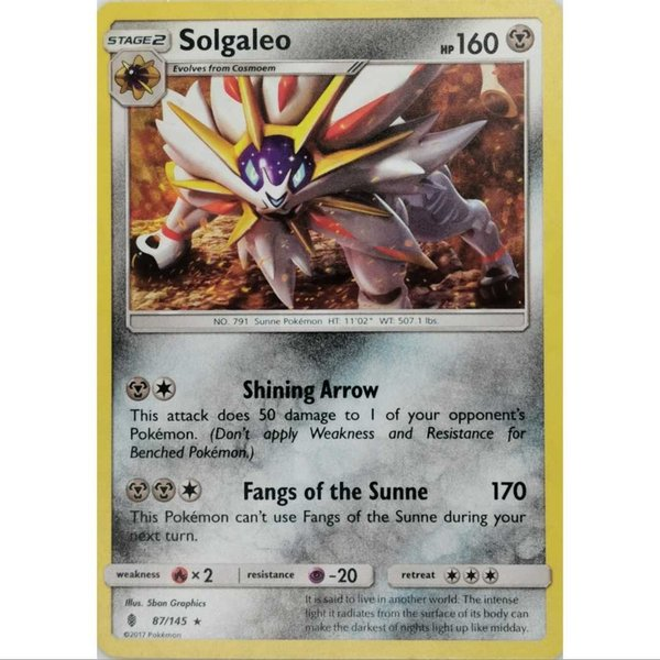 Solgaleo 87/145 Shattered Holo Rare Pokemon Englisch NM