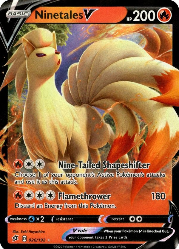 Ninetales V 26/192 Ultra Rare Pokemon SWSH Rebel Clash EN/NM