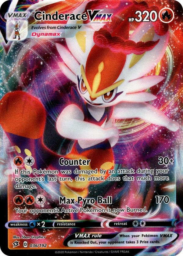 Cinderace VMAX 36/192 Ultra Rare Pokemon SWSH Rebel Clash EN/NM