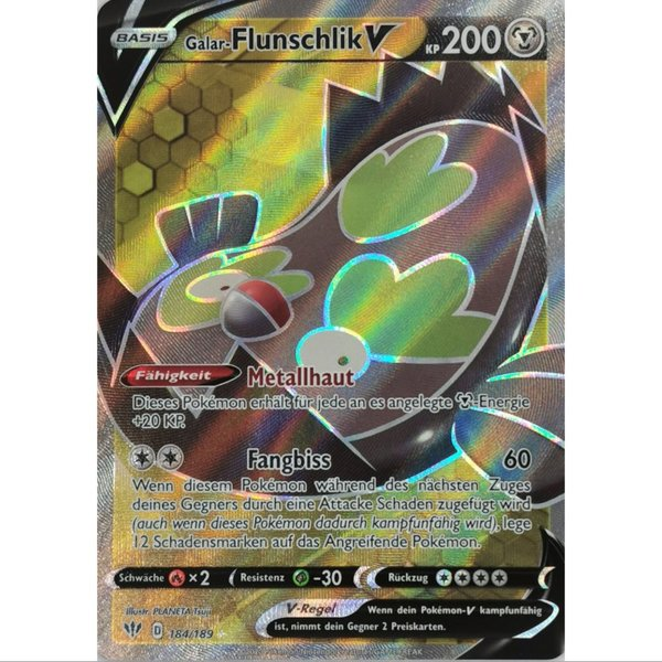 Flunschlik V - 184/189 SWSH03- Flammende Finsternis - Full Art Ultra Rare Holo DE NM