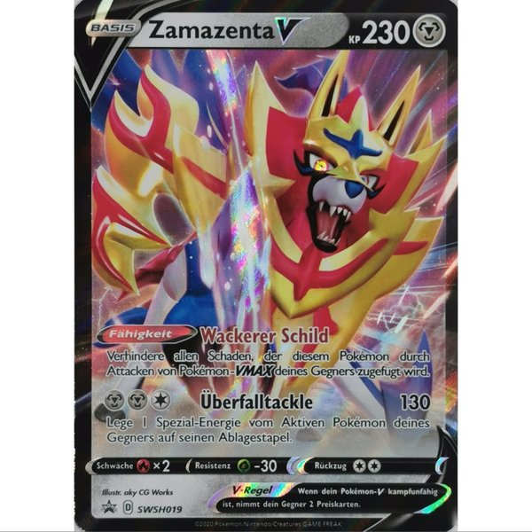 Zamazenta V SWSH019 Black Star Promo Pokemon Deutsch NM/Mint