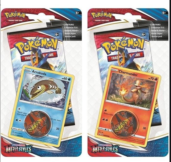 SWSH05 - Battle Styles - 2er Set Checklane Blister# Charmander #Arrokuda - EN OVP Vorverkauf